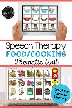 Need some distance learning speech therapy ideas? This food/cooking thematic unit is perfect for teletherapy! A speech and language therapy resource from my speech room to yours. #thetypebslp #slpsontpt #speechtherapy #distancelearning #teletherapy