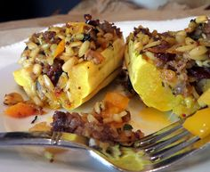 Orzo Stuffed Delicata Squash -- You can eat the skin of this squash ...