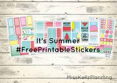 My Birthday week rewind spread + It's Summer Kit #FreePrintableStickers #ErinCondren - Miss Kellz Planning