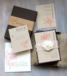 Burlap Wedding Invitations Burlap and Lace Wedding by BeaconLane
