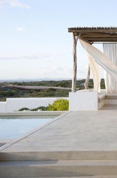 Out door and swimming pool in Formentera barefootstyling.com