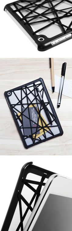 Web for iPad Mini by Quirky // a snap-on bumper case with an overlay of elastic bands that easily straps pens, cards, and other personal effects to the back of your device #productdesign