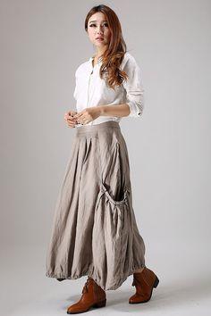 Long skirt women's linen skirt maxi skirt in grey 866 от xiaolizi