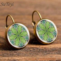 Newest 2017 Mandala green bronze Glass cabochon 18 mm Lever Back Earrings Jewelry Women Online Shopping India Jewelry #Affiliate