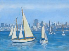 Sailboats In Sausalito, California, Oil painting by Dominique Amendola, blue, water. Fine art prints available, just click on this image. This image is under strict copyright to Dominique Amendola.
