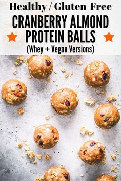Cranberry Almond Granola Protein Balls - One Clever Chef High Protein Snacks, Best Vegan Snacks, Healthy Vegan Desserts, High Protein Recipes, Healthy Snacks, Healthy Breakfasts, Eating Healthy, Vegan Food, Clean Eating
