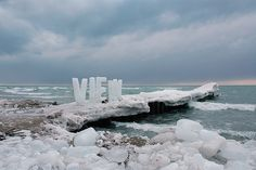 Ice Typography by Nicole Dextras: Made of ice, the word VIEW stands 6' high. The high winds off Lake Ontario sometimes blew individual letters over before they had time to melt. #Installation #Ice_Typography #Nicole_Dextras