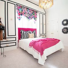 Girls bedroom - love the paneling application - makes it look like a drawing