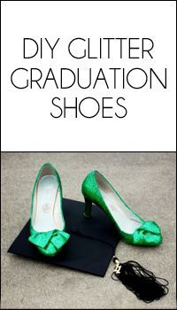 DIY green glitter graduation shoes. // Great for a Baylor grad! Simple, and a much cheaper option than buying shoes you'll only wear once.