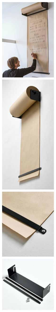 Wall-Mounted Kraft Paper Roll Dispenser - George & Willy designed Studio Roller. Black or white
