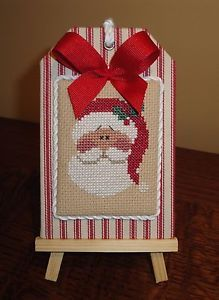 finished completed cross stitch Christmas ornament hanger Lizzie Kate SANTA  | eBay