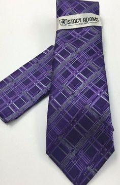 Stacy Adams Tie & Hanky Set Dark Purple & Gray Men's Hand Made 100% Microfiber #StacyAdams #Tie