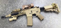 Custom CQB rifle, ive always wanted to test one of these out. Assault Weapon, Assault Rifle, Airsoft Guns, Weapons Guns, Fire Powers, Home Defense, Cool Guns, Military Weapons, Tactical Gear