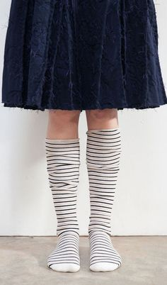 Three-Stripe Over-Knee Socks. An Alabama Chanin manufacturing collaboration with Little River Sock Mill.