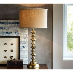 Pottery Barn Spool Brass Table Lamp Base ($120) ❤ liked on Polyvore featuring home, lighting, table lamps, pottery barn, pottery barn table lamps, solid brass table lamp, polished brass table lamp und brass table lamps