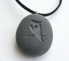 Collier pierre gravée du hibou-Collier pendentif par sjengraving
