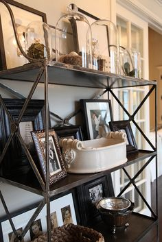Antique French bakers rack displays similarly-framed family pics, cloches, & pottery. Bakers Rack Decorating, Decorating Ideas, Decor Ideas, Diy Ideas, Luxury Interior Design, Interior Ideas, My Dream Home, Dream Big, Decoration