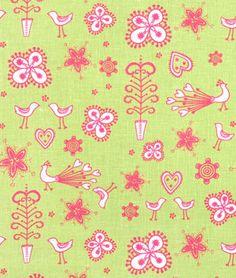 Pink on Green Springtime Linen Print Fabric