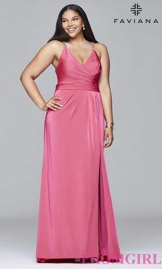 ab83dc6eeed Faviana V-Neck Plus-Size Prom Dress