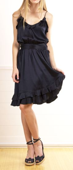 Navy/Black Silk dress would be cute w a black and white jacket.