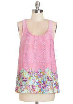 Wonder of Wanders Top. Strolling outside in this floral tank top, you come across a field of flowers and have to stop and stare! #pink #modcloth