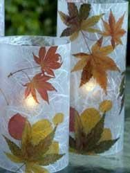 preschool craft: nature/flower/fall leaf votives--this might be an idea for one of our fundraiser crafts:) Autumn Leaves Craft, Autumn Crafts, Nature Crafts, Fall Leaves, Holiday Crafts For Kids, Thanksgiving Crafts, Holiday Fun, Decoupage, Leaf Crafts