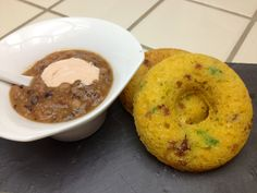 Roasted Red Pepper Black Eyed Pea Soup with Chipotle Cream & Bacon Jalapeño Cheddar Corn Bread (donuts)