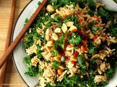 Peanut Butter and Kale Fried Rice (maybe add chicken or an egg on top for more protein?)