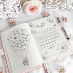 Werbung/Advertisement unpaid 🌸 A bit delayed, b. Werbung/Advertisement unpaid 🌸 A bit delayed, but now I show you my overview of August 🙈☺️ Flowers in combination with a hot air balloon 🤗… – Bullet Journal August, Bullet Journal Writing, Bullet Journal Inspo, Bullet Journal Spread, Journal Themes, Journal Layout, Journal Pages, Bible Journal, Journal Ideas