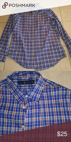 Polo RL size M Polo RL long sleeve button up plade shirt. Size M. Excellent condition! Nothing wrong. Great for a night out. Fun colors. Polo by Ralph Lauren Shirts Dress Shirts