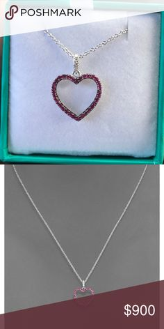Effy 14K White Gold Ruby and Diamond Heart Pendant Brand new and retails 1200.  Comes w box and tags.  Authentic.  Low ball offers will be ignored - sorry:) Effy Jewelry Necklaces