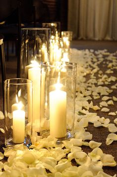Oooh this would be romantic in a Honeymoon suite! Simple Church Wedding, Fall Wedding, Wedding Ceremony, Dream Wedding, Wedding Dreams, Floating Candles Wedding, Pillar Candles, Church Wedding Decorations, Ceremony Decorations