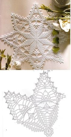 Lovely Crochet Heart Doilies Free Patterns Great for . Free Crochet Doily Patterns, Crochet Snowflake Pattern, Crochet Stars, Crochet Motifs, Crochet Snowflakes, Thread Crochet, Crochet Designs, Crochet Stitches, Knitting Patterns