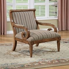 Captivating Powell Kilarney S Curved Scroll Accent Chair With Woven Stripe Fabric And  Lightly Distressed Fruitwood