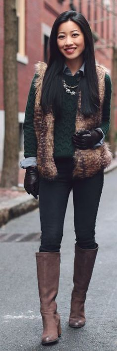 Camel Faux Fur Vest by Extra Petite