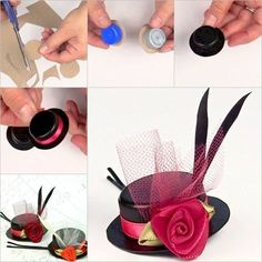 DIY Hat Hairclip form Bottle Cap or a tiny hat. Plastic Bottle Caps, Bottle Cap Crafts, Reuse Bottles, Fun Crafts, Crafts For Kids, Wie Macht Man, Diy Hat, Fancy Hairstyles, Ribbon Crafts