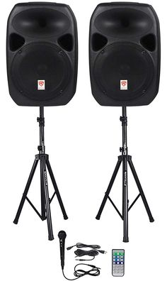 Rockville Dual Powered Speakers, Bluetooth+Mic+Speaker Stands+Cables 811080022574 for sale online Best Dj Speakers, Best Powered Speakers, Pro Audio Speakers, Party Speakers, Hifi Audio, Car Audio, Speaker Stands, Speaker System, Speaker Bluetooth