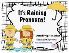Free It's Raining Pronouns! Speech Therapy