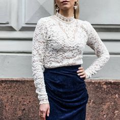 Anna Valkia wearing a white lace top by Rosemunde and a midnight blue velvet skirt by By Malene Birger. Velvet Skirt, Malene Birger, Blue Velvet, Classic White, Midnight Blue, Silk Top, Red And Pink, White Lace, Lace Skirt