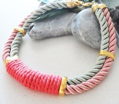 ON SALE Statement choker necklace, pink and light green sateen cords, hot pink cotton cord, gold plated, trendy, fresh, fashion