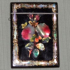 """~ """"Victorian"""" Papier Mache Calling Card With   Mother Of Pearl Inlay ~ (1850-1860)"""