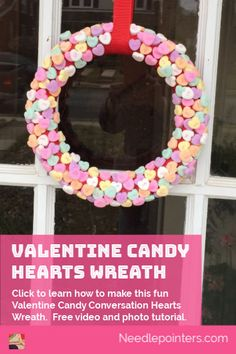 The traditional Valentine's Day candy, conversation hearts are popular so why not incorporate them into holiday decorations by making a candy heart wreath.