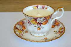 Upcycled Royal Albert Teacup Candle - Vanilla Scent - Vegan Soy Wax - Lenora Collection by FinerySoaps on Etsy