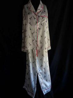 Vintage pyjamas NOS novelty print Paris Eiffel by vintagewayoflife