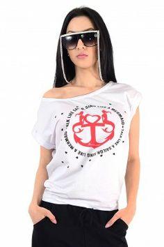 Tricou dama, alb,model deosebit, cu imprimeu pe partea din fata, acest tricou va fi cu siguranta un articol de imbracaminte indragit.  Hainele, pe langa importantul rol estetic pe care il au, iti confera siguranta si incredere in tine insuti.  Tricou Dama cod J-148. Online Shopping For Women, Sailor, Clothes For Women, Model, T Shirt, Tops, Fashion, Outerwear Women, Supreme T Shirt