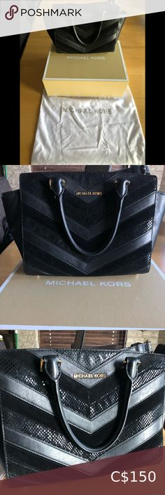 Authentic Michael Kors Selma Beautiful crossbody satchel with textured suede detailing and gold hardware. Is a few years old but has been taken care of and stored in its original dust bag and box when not being used. No stains or rips. Michael Kors Bags Satchels Micheal Kors Handbag, Michael Kors Satchel, Michael Kors Selma, Michael Kors Hamilton, Michael Kors Black, Ugg Bailey Button, Kids Necklace, Mk Bags, Satchels