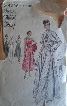 Vogue Special Design S-4866 circa 1948 Evening Dress and Bolero