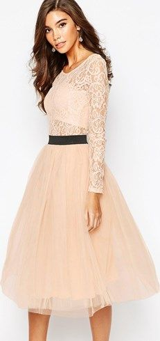 357d1c48e6 Shop Rare London Sheer Lace Tutu Dress With Contrast Waistband And Tulle  Skirt at ASOS.