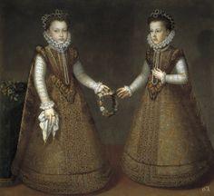 Alonso Sánchez Coello. Las infantas Isabel Clara Eugenia y Catalina Micaela. Hacia 1575. Museo del Prado. Madrid.