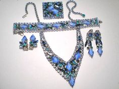 Beautiful blues and greens brooch, necklace, 2 pairs earrings and bracelet matching set.